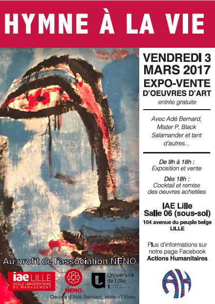 L'art au service de la santé Exposition - Vente d'œuvres-d 'art au profit de l'association NENO – le Vendredi 3 Mars 2017 à l'IAE Lille